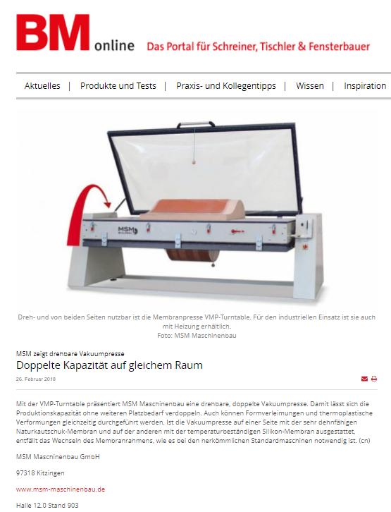 MSM Pressebericht BM online Holzhandwerk